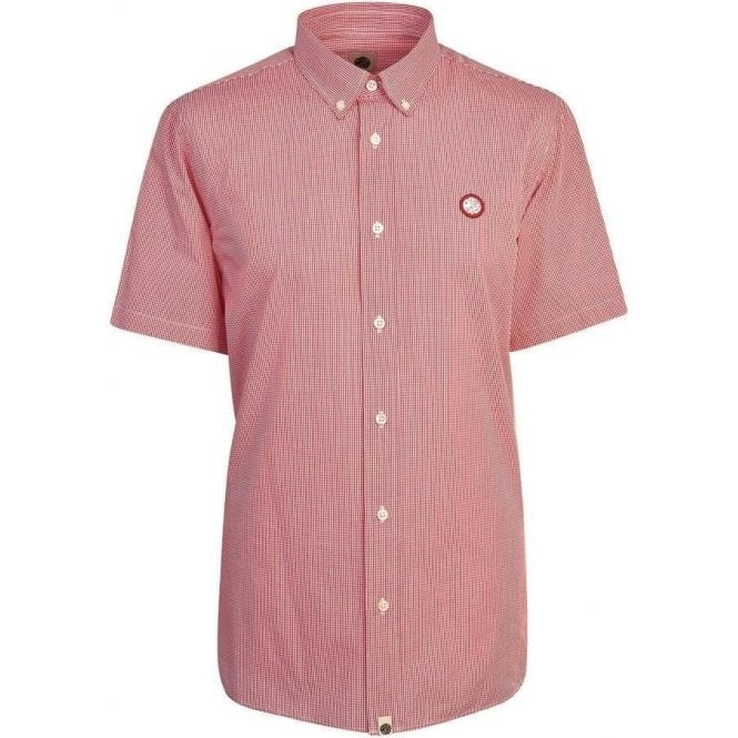 Pretty Green Glendale Short Sleeve Shirt in Red