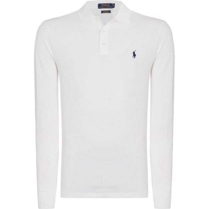 Polo Ralph Lauren Ralph Lauren Polo Button Long Sleeve Polo Shirt in White
