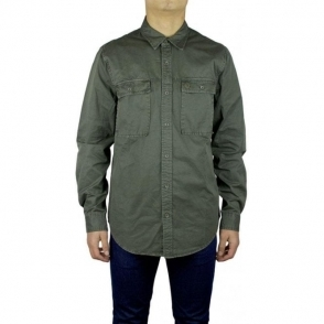 True Religion Needle Long Sleeved Shirt in Olive
