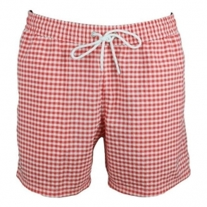 Lacoste Check Swim Shorts in Red