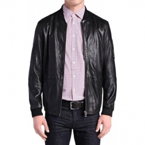Boss Orange Jemmay Leather Jacket in Black