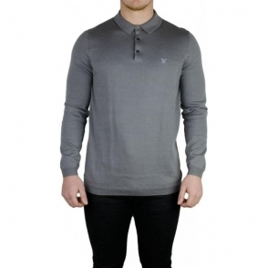 Lyle & Scott Vintage Knitted Polo Knitwear in Grey