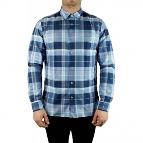 Lacoste Long Sleeved Check Shirt in Dark Blue