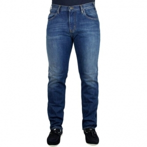 Armani Jeans J45 Slim Fit Short Leg Jeans in Mid Wash