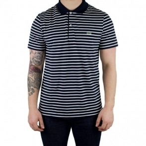 Lacoste Stripe Polo Shirt in Navy