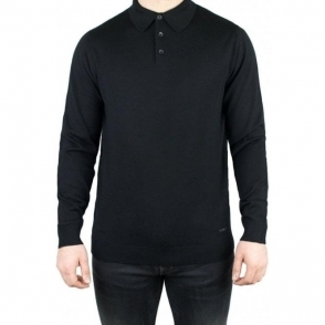 Armani Collezioni Knit Polo Knitwear in Black