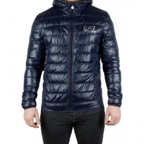 Ea7 Quilt Hooded Jacket in Navy