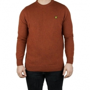 Lyle & Scott Vintage Crew Neck Lambswool Knitwear in Burnt Redwood