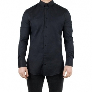 Armani Collezioni Plain Formal Shirt in Black