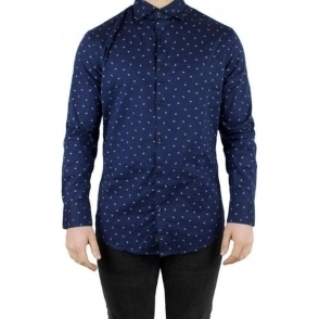 Armani Jeans All Over Logo Shirt in Navy