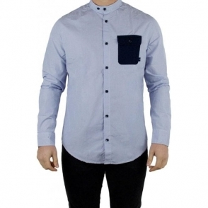 Armani Jeans Striped Chest Pocket Shirt in Blue