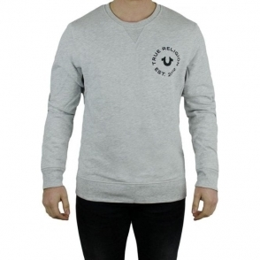 True Religion Long Sleeved Crew Neck Sweatshirt in Grey