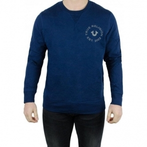 True Religion Long Sleeved Crew Neck Sweatshirt in Navy
