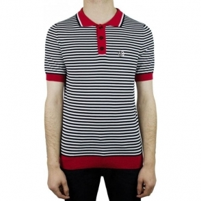 Moschino Red Collar Striped Polo Shirt in Black