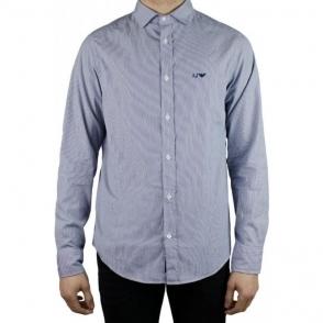 Armani Jeans Pinstripe Shirt in Dark Blue