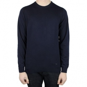 Collezioni Plain Crew Neck Knitwear in Navy