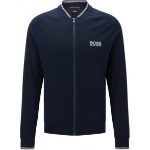 Boss Black College Jacket Zip Loungewear in Dark Blue
