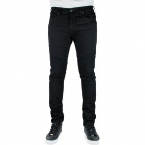 True Religion Rocco Skinny Moto Jeans in Black