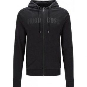 Boss Black Jacket Hooded Loungewear in Black