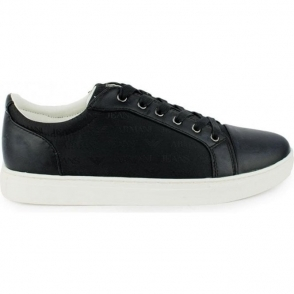 Armani Jeans Logo Side Trainers in Black