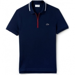 Lacoste Zip Sport Polo Shirt in Navy