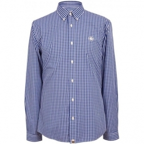 Pretty Green Ebsworth Long Sleeved Shirt in Navy