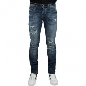 True Religion Rocco Destroyed Jeans in Mid Wash