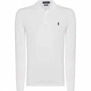 Ralph Lauren Polo Button Long Sleeve Polo Shirt in White
