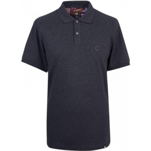Pretty Green Pique Hart Polo Shirt in Dark Grey