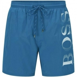 Boss Black Octopus Swim Shorts in Navy