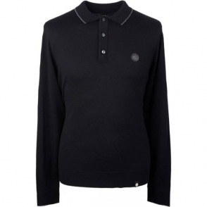 Pretty Green Long Sleeve Knitted Polo Shirt in Black