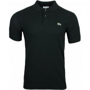 Ribbed Polo Shirt in Black
