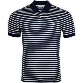 Lacoste Striped Polo Shirt in Navy