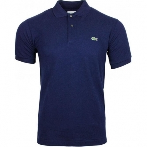 Ribbed Polo Shirt in Navy