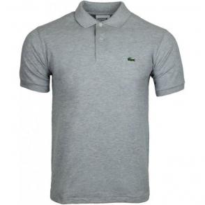 Ribbed Polo Shirt in Grey