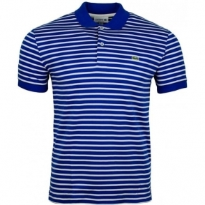 Lacoste Striped Polo Shirt in Blue