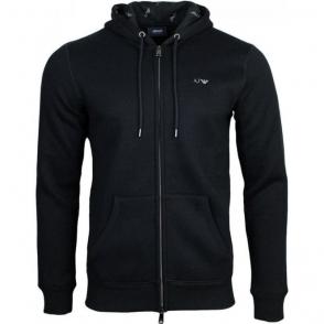 Armani Jeans Logo Hooded Sweatshirt in Black