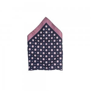 Square Pocket In Dark Blue And Pink