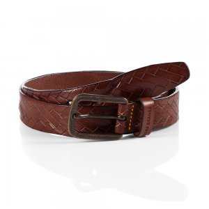JONASIO Leather Belt In Dark Brown