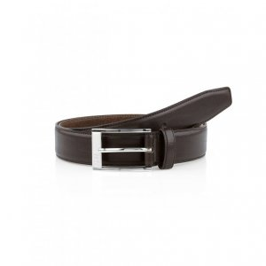 ESTONIO Leather Belt In Dark Brown