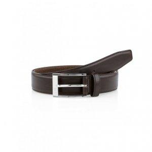 ESTONIO Leather Belt In Dark Brown
