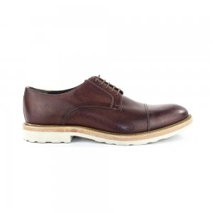 Boss Orange Uros Cap Toe Derby Shoes in Smooth Brown Leather