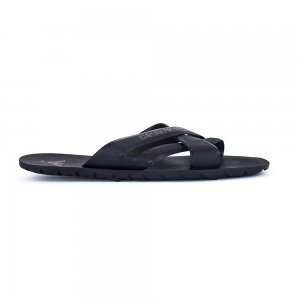 Emporio Armani Cross Flip Flops in Black