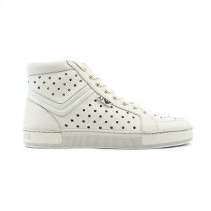 HOLES High Top Trainers In Beige Leather
