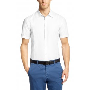 MARCO 1 MODERN ESSENTIAL Slim Fit Short Sleeved Shirt In White Cotton