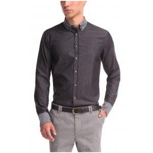 EDIPOE Slim-fit Long-Sleeved Casual Shirt In Black