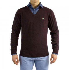 Lacoste Knitwear V Neck in Burgundy