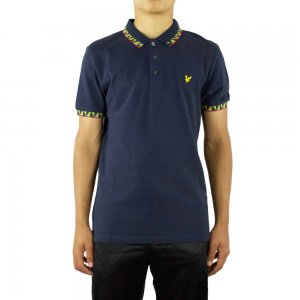 Lyle & Scott Vintage Polo Top Fairisle in Navy