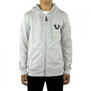 True Religion Hoodies Crafted Print in Grey