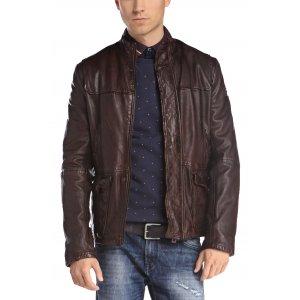 Boss Orange Leather Jacket Jerian in Dark Brown